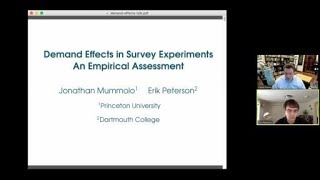 "Erik Peterson, ""Demand Effects in Survey Experiments: An Empirical Assessment"""