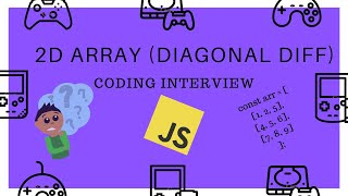 2D Array Diagonal Difference || Coding Interview || Javascript