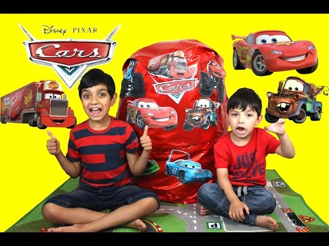 Giant Egg Surprise Opening Lighting McQueen Mater Disney Pixar Cars Video For Kids By Hitzh Toys