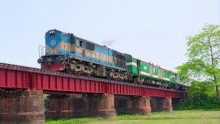 Nilsagar Express Train on Beautiful Rail Bridge near Ishwardi Bypass Railway Station