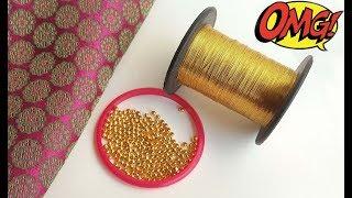 How to make designer fabric earrings using zari thread and gold beads