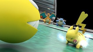 Pacman and pikachu against Mewtwo