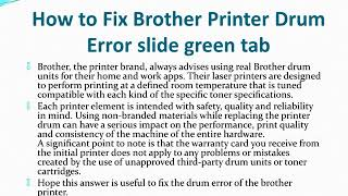 Brother Printer Drum Error slide green tab
