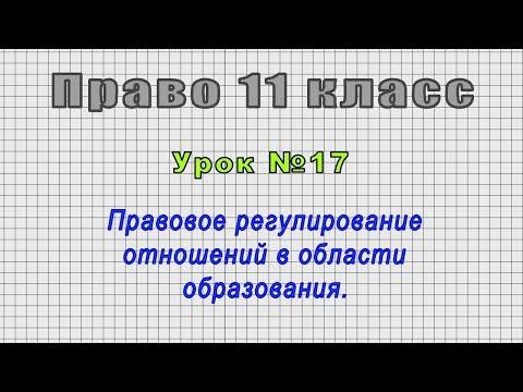 Право 11 класс (Урок№17 - Правовое регулирование отношений в области образования.)