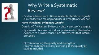 An Introduction to Writing a Systematic Review - Laurie Theeke – Sept 2017
