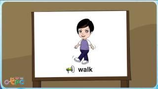 สื่อการเรียนการสอน คำศัพท์ภาษาอังกฤษ   กริยาท่าทาง เดิน วิ่ง ป.2 ภาษาอังกฤษ