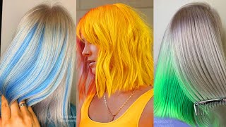 Best Short Rainbow Hair Color. Best Hair Colorful Transformation Tutorial Compilation