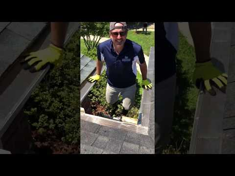 Here is our owner Frank Heneghan, having a little fun on a job.  Look how incredibly strong our gutters are!  This is an aluminum system but its tensile strength is amazing due to closer spaced hangers, hundreds more fasteners per system installed in a unique pattern and the use of only the finest materials.  Most installers race through installs, leaving you with weak gutters that are prone to blowouts, especially due to winter snow and ice accumulation.  This is why we warranty our gutter systems FOR A LIFETIME!