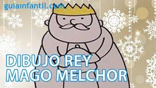 Dibujo infantil de Navidad. Rey Mago Melchor