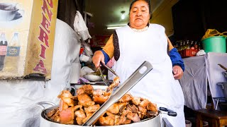 Extreme STREET FOOD Tour in Cusco, Peru - CORN BEER PORK CHOP + Crazy Spicy Chilies Tour!