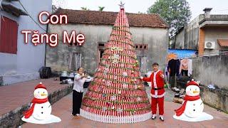 Hưng Vlog - Làm Cây Thông Noel Khổng Lồ Bằng 5000 Non Coca Cola Tặng Mẹ Bà Tân Vlog Sẽ NTN