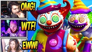 """STREAMERS REACT TO *SCARY* """"KILLER CLOWN"""" SKINS! *CREEPY* Fortnite FUNNY & SAVAGE Moments"""