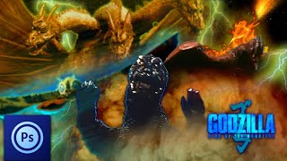 Godzilla King of the Monsters in Showa style-Photoshop