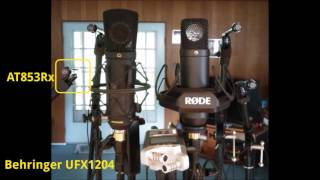 Side-by-side comparison of 8 microphone configurations capturing one source