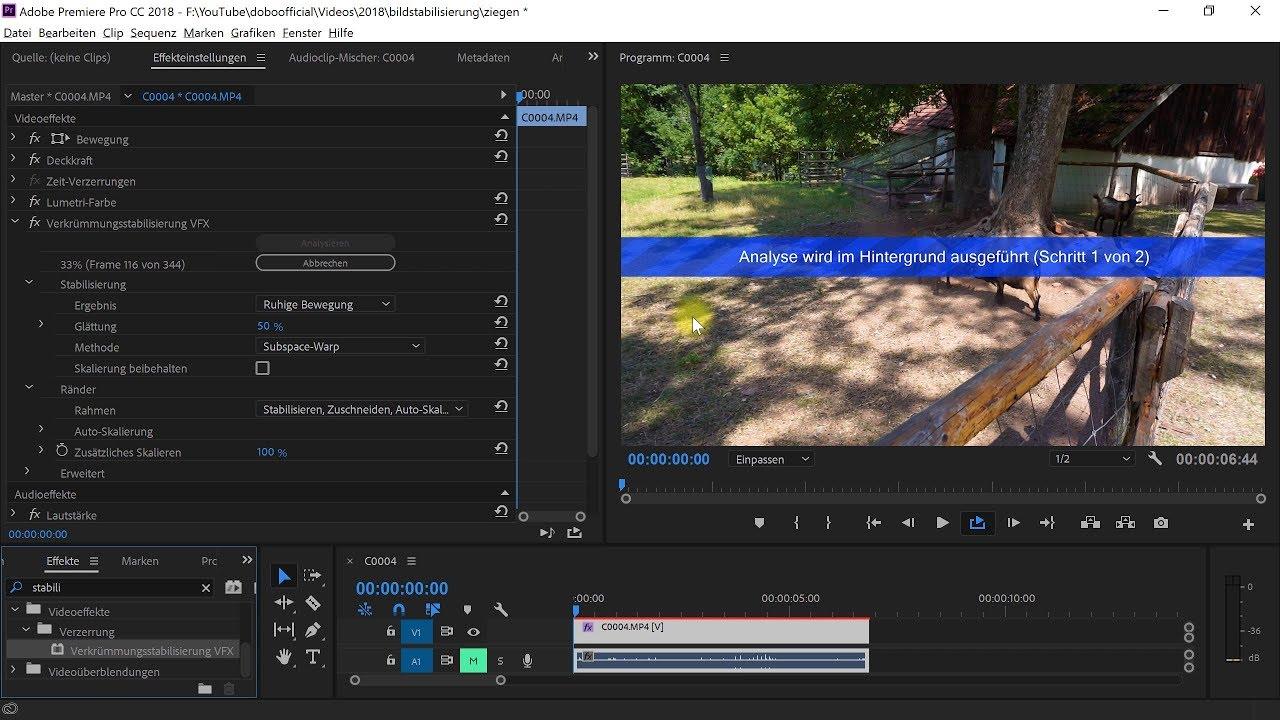 Bildstabilisierung: Videos entwackeln – Premiere-Pro-Tutorial