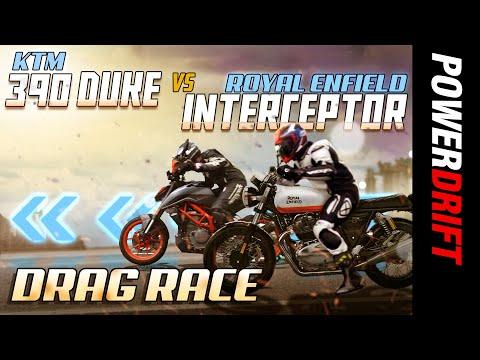 KTM 390 Duke vs Royal Enfield Interceptor 650 | Drag Race | PowerDrift