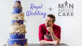 PURPLE ROYAL WEDDING CAKE With Gold Accents and White Flowers | Man About Cake - Video Youtube