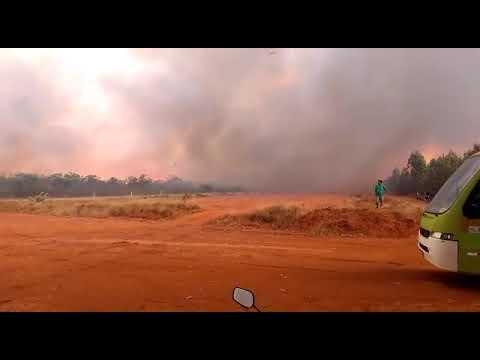 Fogo na reserva Biológica em Acauã