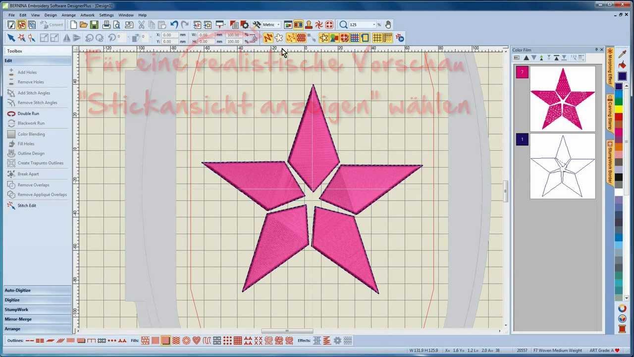 BERNINA Sticksoftware 7 Tutorial 7/12 - Erstellen eines Trapunto-Motives in der Software
