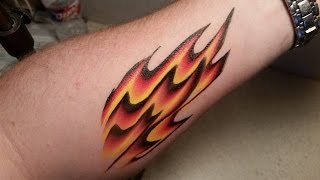 One-Stroke Flame Design. Arm Or Face Painting Tutorial.