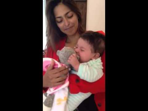 Baby really doesn't like monkey blanket
