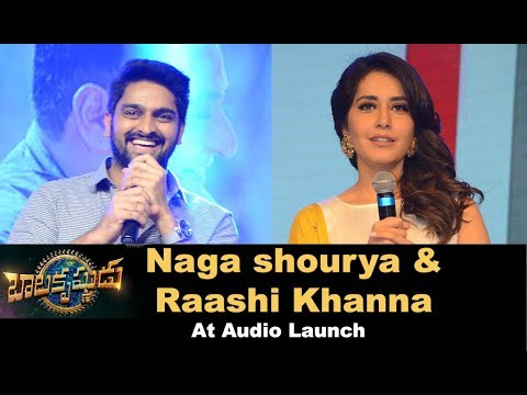 Raashi Khanna and Naga Shourya at Balakrishnudu Audio Launch