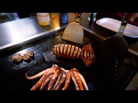 Whole Squid Teppanyaki at a Japanese Restaurant
