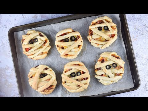 Mummy Puff Pastry Pizza Pies - Fun Halloween Recipe