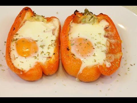 Pimientos rellenos de jamón, queso y huevo | Receta fácil