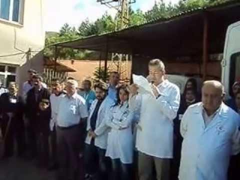Bayat devlet hastanesi çalışanları saldırıyı kınadı.