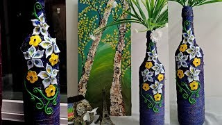 Wine Bottle Decoration Idea L Altered Bottle L Bottle Art L Best Out Of Waste