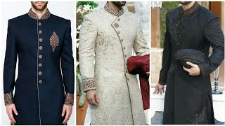 Simple Elegant Mens Wedding Sherwani || Traditional Wear Groom Sher Sherwani || Indian Silk Wedding