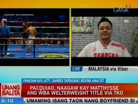 [GMA]  UB: Pacquiao, naagaw kay Matthysse ang WBA Welterweight Title via TKO