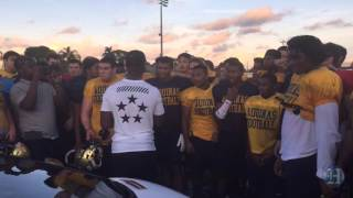 Nike surprises St. Thomas Aquinas' football team with new cleats for state title game