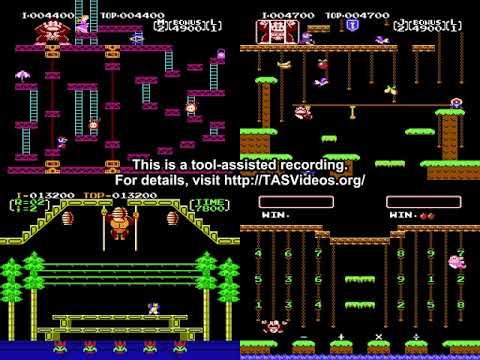 [TAS] NES Donkey Kong, DK Jr,, DK 3 & DK Jr, Math by Cyorter in 01:18,39