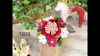 【100均材料 つまみ細工 髪飾り】kanzashi Flower  Fabric Flower DIY