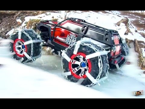 RC ADVENTURES - TRAXXAS SUMMiT 4x4 TRUCK In Custom ICE & SNOW CHAiNS