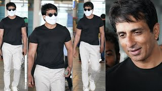 Real Hero Sonu Sood Spotted at Hyderabad Airport | Celebrities Airport Videos