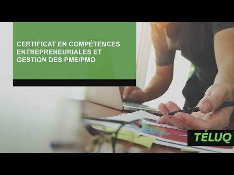 Certificat en compétences entrepreneuriales et gestion des PME/PMO