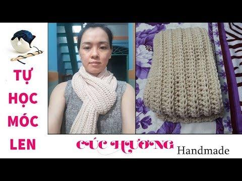 Hướng dẫn móc khăn choàng cổ mũi nữa kép giả đan cho nữ. Wool scarf for women crochet tutorial.