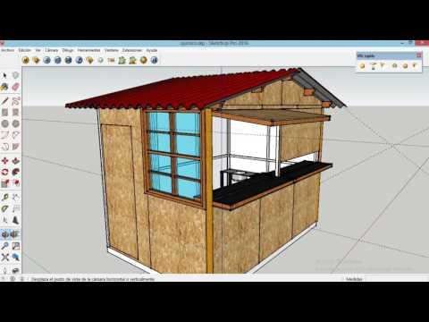 Quiosco en OSB   Sketchup   Diseño de Quiosco
