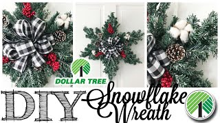 DIY Dollar Tree Christmas Wreath | SNOWFLAKE