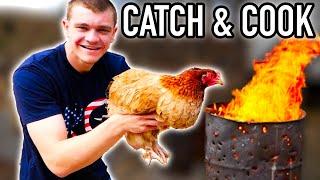 Fresh BARNYARD CHICKEN Over REDNECK BARREL FIRE! (Catch & Cook)