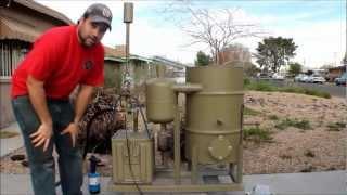 amazing homemade gasifier uses wood pellets to run generator -- renewable alternative energy video
