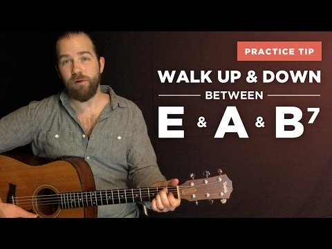 ⭐️ Walking up & down between the E, A, and B7 (bass note transitions)
