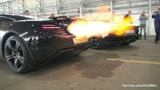 McLaren 12C + Aventador Roadster Shooting Flames!