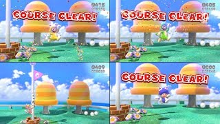 World 1-1 Side by Side Character Comparison - Super Mario 3D World