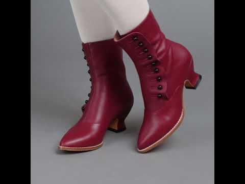PRE-ORDER Tavistock Victorian Button Boots (Oxblood)(1890-1925)