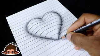 How To Draw 3D Embossed Heart On Paper - Corazón En Relieve - Satisfiying Easy Drawing