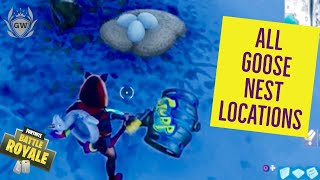 Search Waterside Goose Nests! ALL 6 LOCATIONS! 14 DAYS OF FORTNITE CHALLENGES DAY 7!